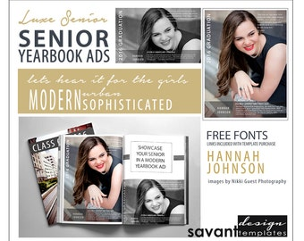 Yearbook Ads, Senior Graduation, Photoshop Templates, Luxe Senior A, Magazine style, High School Yearbook Ad for Senior Photographers