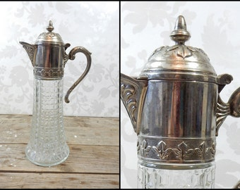 Vintage Claret Jug, Silver Plate, Glass Pitcher, Hinged Decanter, Pressed Glass, Carafe, Italy