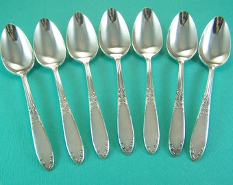 DEMITASSE SPOONS,  Demitasse Spoons for Holidays, Vintage Sterling Silver Plated, King Edward by National, 1936, Under 35