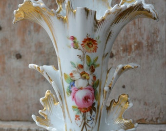 Antique Porcelain Vase, Old Paris porcelain, French Porcelain, Vintage French decor