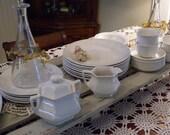 Vintage 29 Piece ~  Empress Adams Wedgwood Creamy White Dinner Set with Linen Napkins