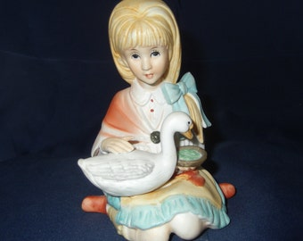 Vintage Ceramic Girl Figurine with Duck Cute Blonde Hair Girl Figurine with Pet Duck