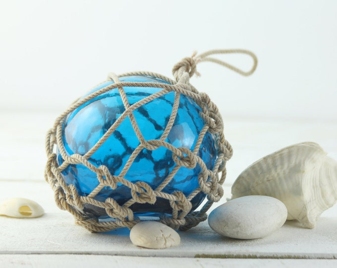"""Beach Decor  Blue Fishing Float, 6""""  Vintage by SEASTYLE"""