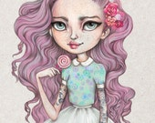 Candy - A4 Limited Edition Fine Art Print - Inspired by Strawberry Shortcake, Rockabilly, Punk and Pastel Hair