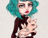 Clover - A4 Limited Edition Fine Art Print - Inspired by Strawberry Shortcake, Rockabilly, Steampunk, Pastel Hair and Piglets