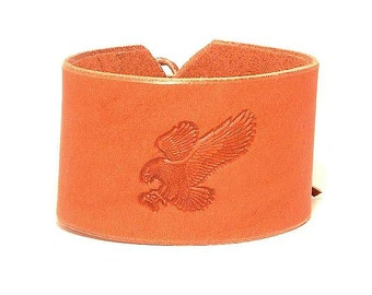 Embossed leather bracelet with an eagle