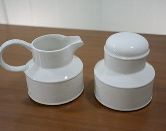 Midwinter Stonehenge White Cream and Sugar Set Made in England 1970s