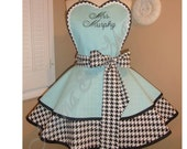 Houndstooth Womans Retro Apron, Featuring Heart Shaped Bib...Custom Embroidery, Plus Size Available