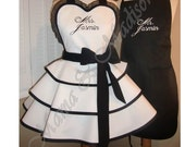 Mr. and Mrs. Custom Bridal Aprons...Perfect Bridal Shower Gift, Available In Black Or White