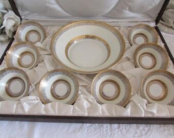 Stunning boxed fine set of antique Limoges porcelain dessert bowls. Michalaud Lucien.  Fine dining