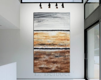 Large oil painting modern abstract original gray umber massive painting 36 x 60 XXL vertical abstract art acrylic by L.Beiboer