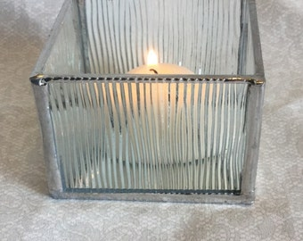 Clear textured glass, small clear glass candle holder