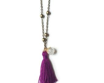 Little Girl Plum Tassel Necklace