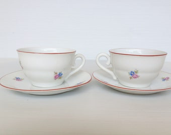 vintage set of porcelain espresso cup and saucer made in czechoslovakia