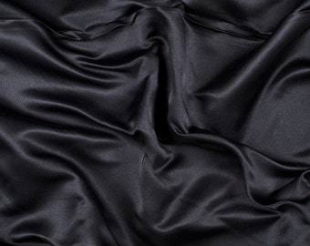 "60"" Wide 100% Silk Duchess Satin Black by the yard"