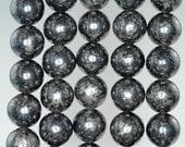12mm Black Gold Iron Pyrite Intrusion Gemstone Grade AA Round Loose Beads 7.5 inch Half Strand (90187033-854)