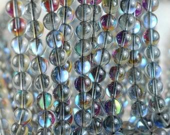 10mm Mystic Aura Quartz Gemstone Titanium BI Grey Rainbow Round Loose Beads 15 inch Full Strand (90183976-363)