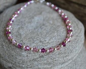 Shades of Pink Swarovski Crystal Ankle Bracelet
