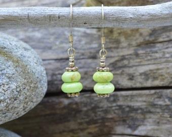 Lime Green Howlite Earrings