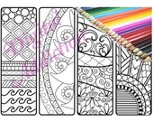 Zendoodle Bookmark Coloring Printable Doodle ~ Zentangle Inspired ~ Black and White Art