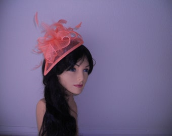 Coral fascinator wedding hat church hat derby hat