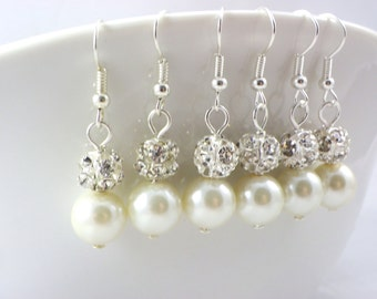 Bridesmaid gift, 4 Pairs Bridesmaid Earrings, Pearl and Rhinestone Earrings, Bridesmaid Earrings, Pearl and Crystal  Earrings, Wedding gift