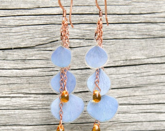 Natural Flower Jewelry - Blue Hydrangea Pressed Flower Earrings with Amber Czech Glass Beads