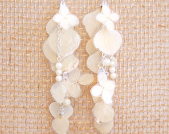 Natural Wedding Jewelry - White Hydrangea Pressed Flower Petal Bridal Earrings--CUSTOM OPTIONS AVAILABLE