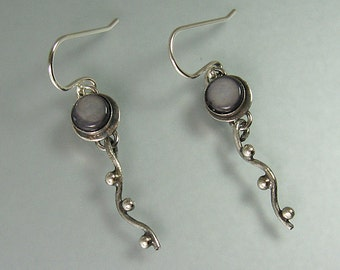 Black mother of pearl earrings - sterling silver pebble earrings - nature inspired earrings - black shell earrings -wave earrings