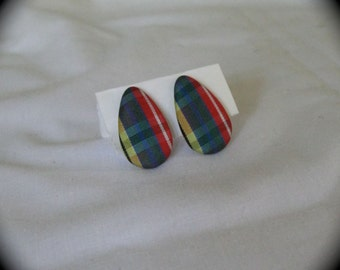 1980s plaid fabric post earrings