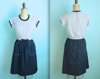 vintage 70s navy and white day dress / size xsmall / as is