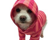 Coral and Raspberry Striped Dog Hoodie dog clothes pet clothing dog clothing pet clothes dog shirt dog sweater