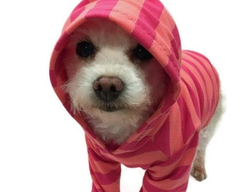 Coral Striped Dog Hoodie-Dog Clothes-Dog Hoodies-Dog Sweater-Dog Clothing-Dog Shirt-Dog Shirts-Shirts for Dogs-Dog Apparel-Dog Sweatshirts