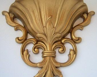 Vintage Homco Pocket Planter Wall Sconce Gold Hollywood Regency Mid Century