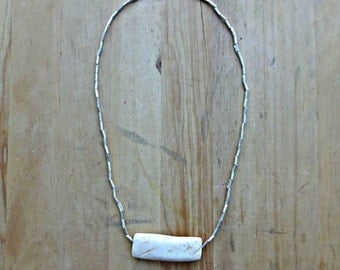Clam Shell and Metal Beaded Necklace