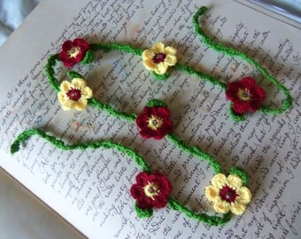 Handmade Crochet Necklace With Red and Yellow Crochet Flowers
