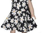 "Sleeveless Knee Length 18"" Doll Clothes White Daisy flowers on  Black Dress w/ Invisible Back Zipper"