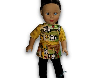 """Kawaii Panda in the city Top & Leggings Outfit 18"""" Doll Clothes [41919F]"""