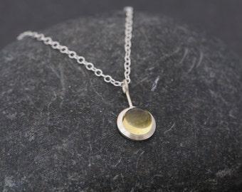 Lemon Quartz Necklace - Yellow gemstone Pendant Necklace - Lemon Quartz Cabochon Pendant - Handmade Silver Necklace - Cabochon Necklace
