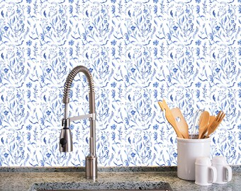 Removable Wallpaper- Cobalt Toile - Peel & Stick Self Adhesive Fabric Temporary Wallpaper-Repositionable-Reusable- FAST. EASY.