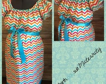 Maternity Hospital Labor Gown- colorful chevron