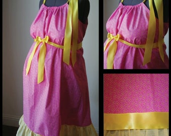 Maternity Hospital Gown: Pink Floral with Yellow Ruffle