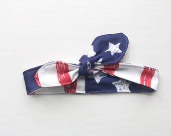 LITTLE DOLLY BOW Headband: American Flag Head Tie // Head tie for little girls // Pin Up Girl Hair Tie // Rockabilly Hair Tie