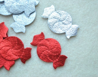 10 Piece Die Cut Felt Peppermint Candies, Metallic Felt