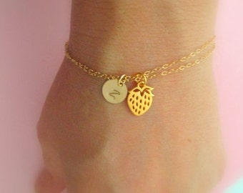 Gold Strawberry bracelet- personalized initial GOLD FILL 24K gold sterling silver letter monogram bracelet strawberry fruit jewelry all gold