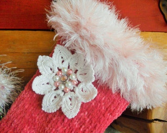 Pink Chenille Floral Knit Christmas Stocking with Crocheted Flower, pearls and rhinestone button