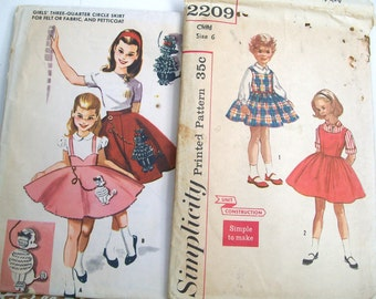 Two 1950's Girl's DRESS PATTERNS Simplicity #2209 McCalls #2251 Size 6 Poodle Skirt