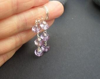 Gemstone Ametrine Faceted Rondelle 925 Sterling Silver Dangle Earrings, Wire Wrap Earrings
