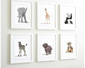 Zoo Animal Nursery Prints, Safari nursery decor, Childrens Art - set of six unframed prints - zoo animal, jungle animal childrens art