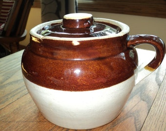 Vintage USA BAKED BEAN Pot,  Rustic Primitive Brown and Tan Glazed Clay  cooking container with wonderful well aged patina in Good Condition